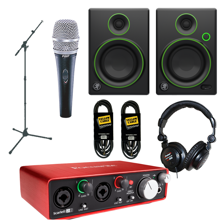 Pack Home-Studio Focusrite + Mackie + Shure Instrument