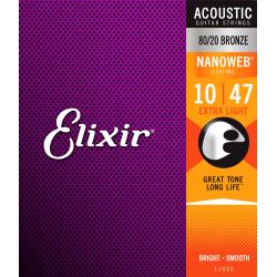 Cordes folk Elixir Nanoweb Extra-Light 10-47